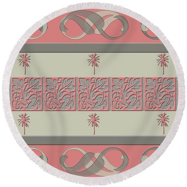 Cheery Coral Pink Round Beach Towel