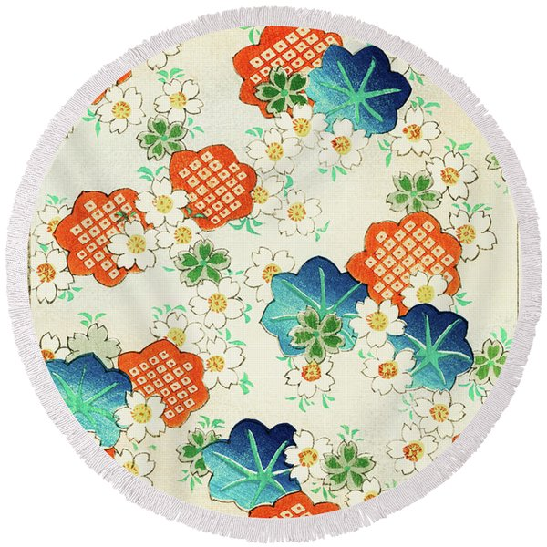 Cherry Blossoms And  Fallen Leaf- Japanese Traditional Pattern Design Round Beach Towel
