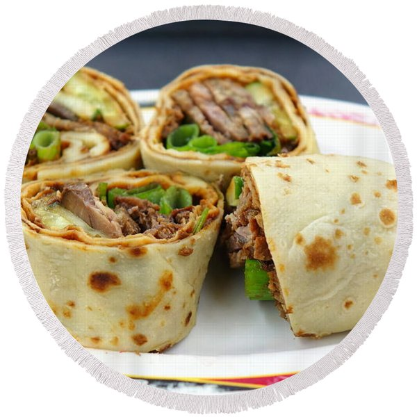 Chinese Pancake Roll With Cooked Beef Round Beach Towel
