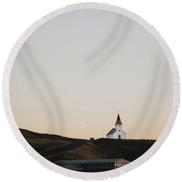 Church On Top Of A Hill And Under A Mountain, With The Moon In The Background. Round Beach Towel