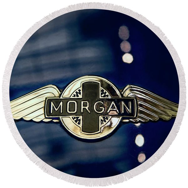Classic Morgan Name Plate Round Beach Towel