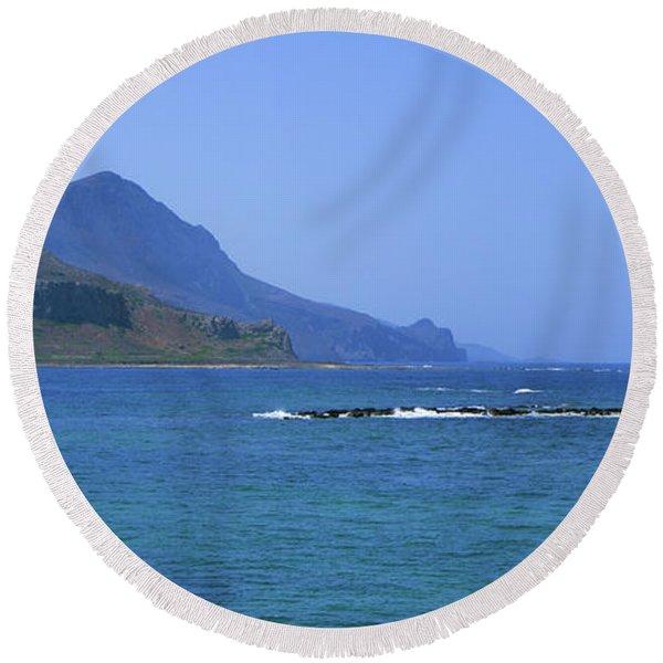 Coast Of Gramvousa Round Beach Towel