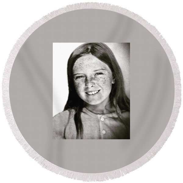 Round Beach Towel featuring the photograph Colette 12 Years  by Colette V Hera Guggenheim