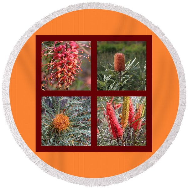 Collection Of Australian Proteaceae Flowers Round Beach Towel