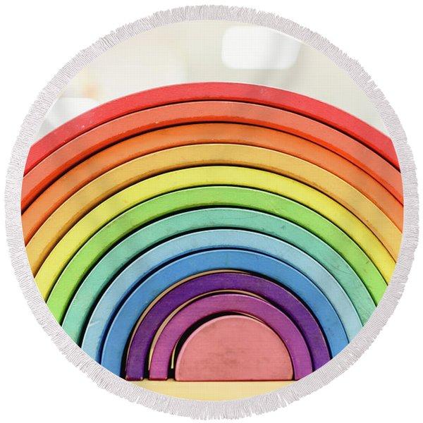 Colorful Waldorf Wooden Rainbow In A Montessori Teaching Pedagogy Classroom. Round Beach Towel