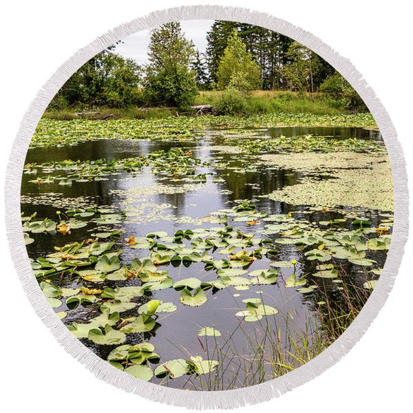 Comox Valley Pond Round Beach Towel
