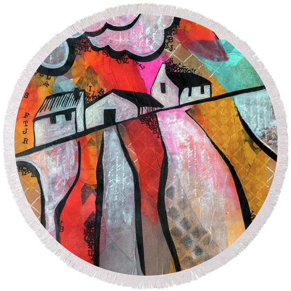Round Beach Towel featuring the mixed media Country Life by Ariadna De Raadt