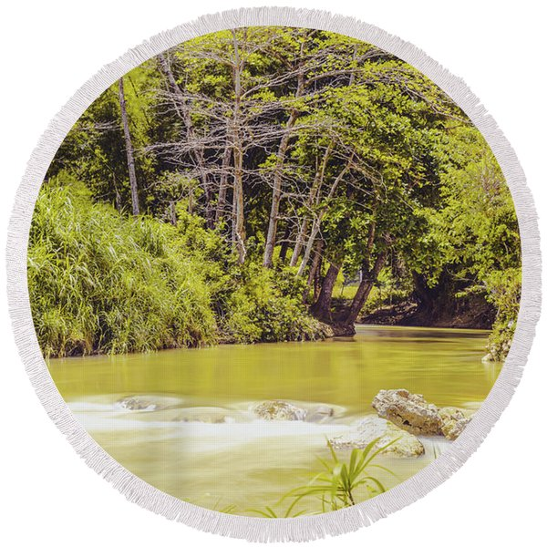 Country River In Trelawny Jamaica Round Beach Towel