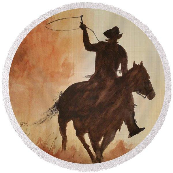 Cowboy Hero Round Beach Towel