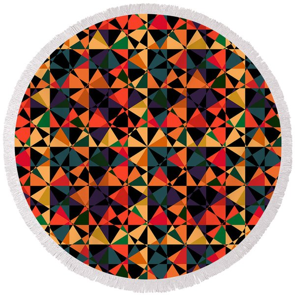 Crazy Psychedelic Art In Chaotic Visual Shapes - Efg214 Round Beach Towel