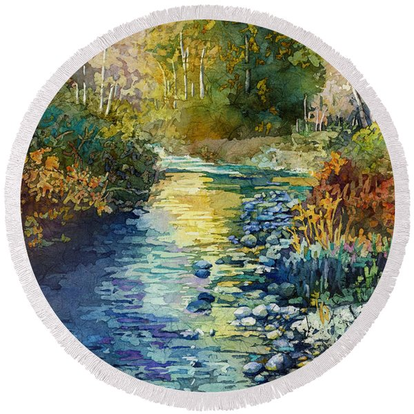 Creekside Tranquility Round Beach Towel