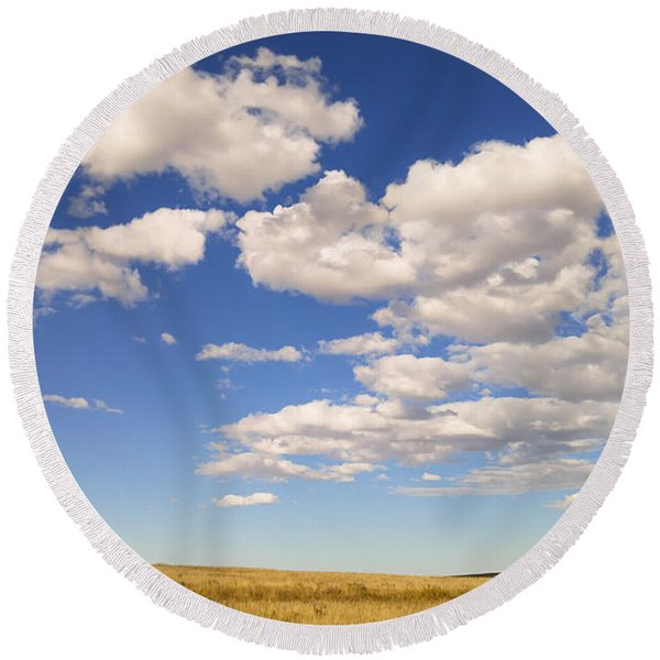 Round Beach Towel featuring the photograph Cumulus by Carl Young