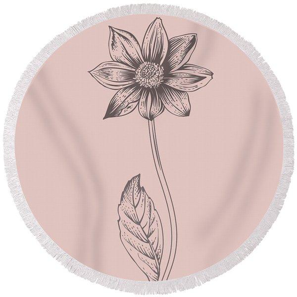 Dahlia Blush Pink Flower Round Beach Towel