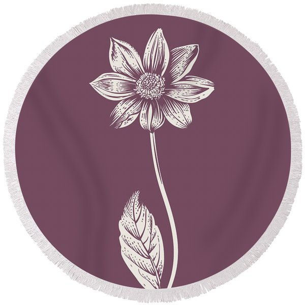 Dahlia Purple Flower Round Beach Towel