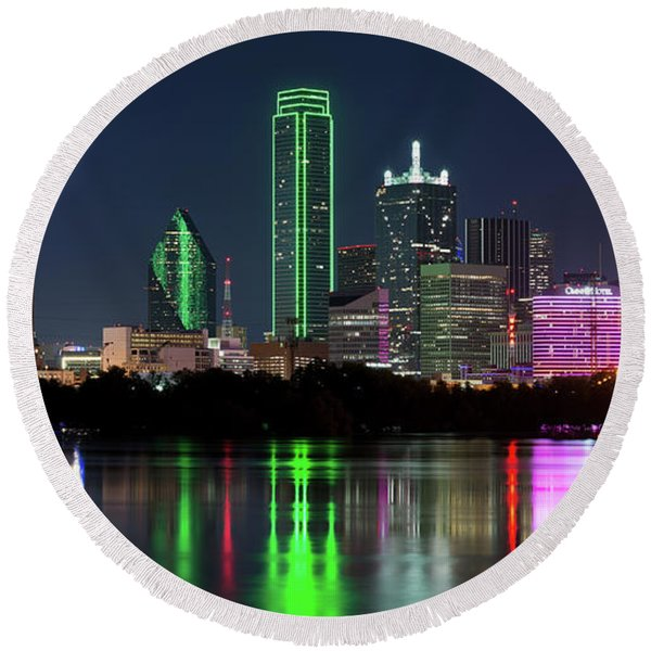 Dallas Reflection Pano 022719 Round Beach Towel