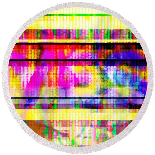 Databending #2 Hidden Messages Round Beach Towel