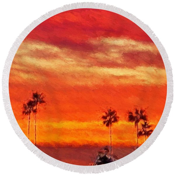 Del Mar Sunset Round Beach Towel