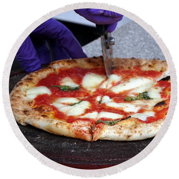 Delicious Pizza Straight From The  Oven Round Beach Towel