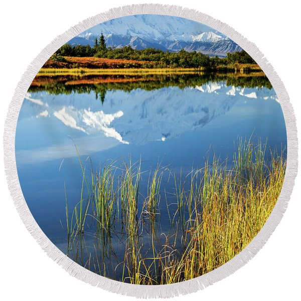 Round Beach Towel featuring the photograph Denali Reflection by Tim Newton