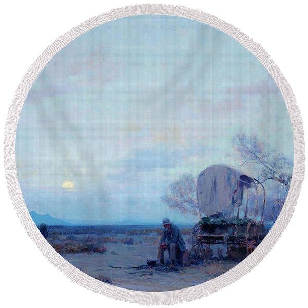 Desert, Prospector, 1924 Round Beach Towel