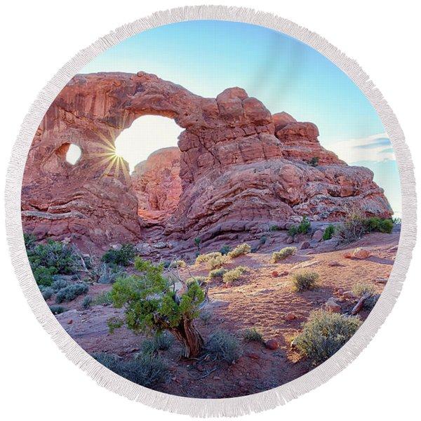 Desert Sunset Arches National Park Round Beach Towel