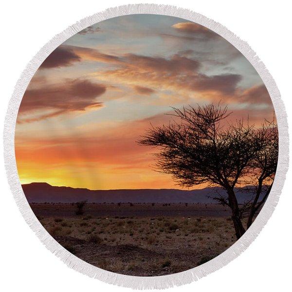 Desert Sunset II Round Beach Towel