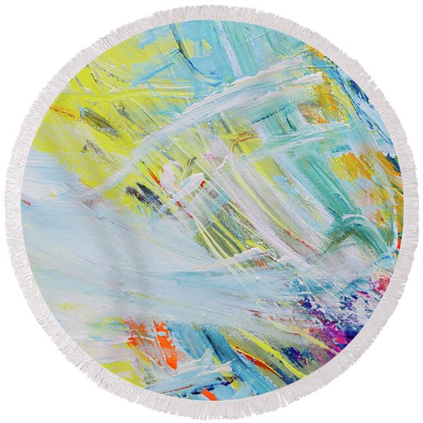 Detail Of Brush Strokes Of Random Colors To Use As Background An Round Beach Towel
