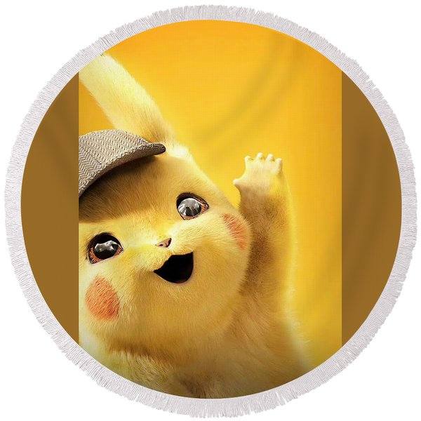 Detetive Pikachu Round Beach Towel