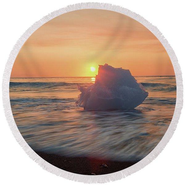 Diamond Beach Sunrise Iceland Round Beach Towel