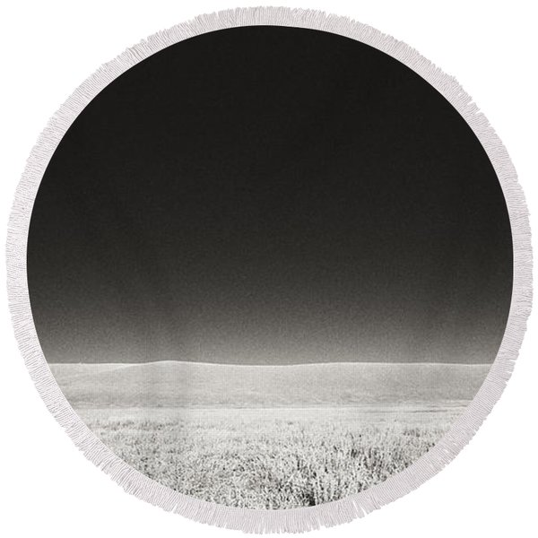 Round Beach Towel featuring the photograph Distance Between Us by Carl Young
