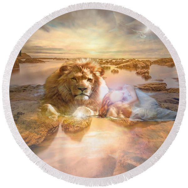 Divine Rest Round Beach Towel
