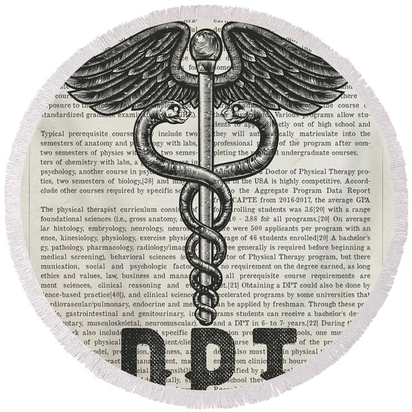 Doctor Of Physical Therapy Gift Idea With Caduceus Illustration  Round Beach Towel