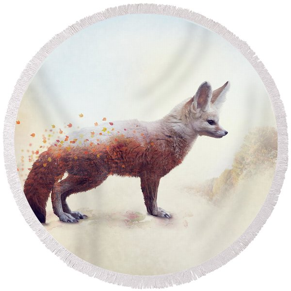 Double Exposure Of A Fennec Fox And Autumn Trees Round Beach Towel