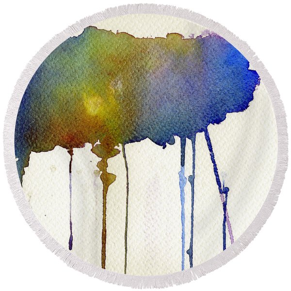 Dripping Universe Round Beach Towel