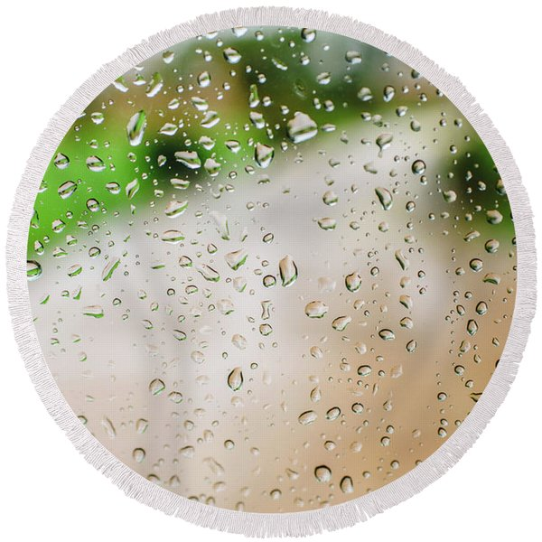 Drops Of Rain On An Autumn Day On A Glass. Round Beach Towel