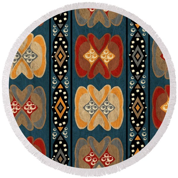 East African Heart And Diamond Stripe Pattern Round Beach Towel