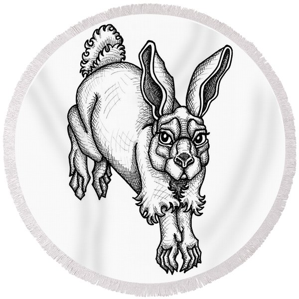 Eastern Cottontail Round Beach Towel