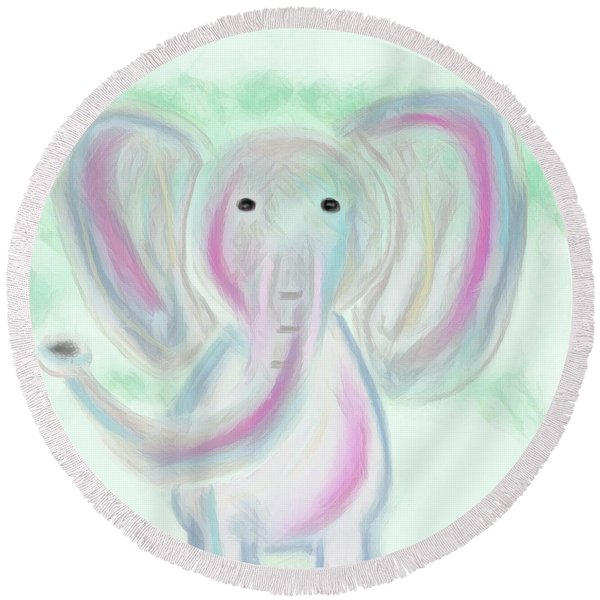 Elephant Love Round Beach Towel