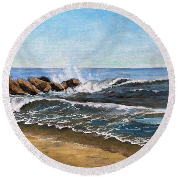 End Of Jetty Round Beach Towel