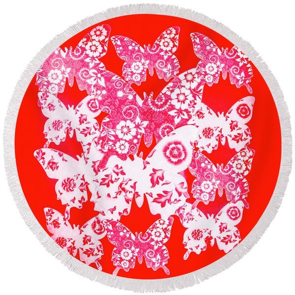 Exotic Red Wings Round Beach Towel