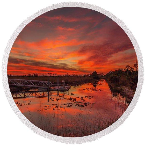 Explosive Sunset At Pine Glades Round Beach Towel