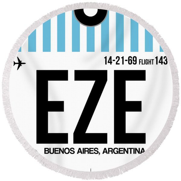 Eze Buenos Aires Luggage Tag I Round Beach Towel