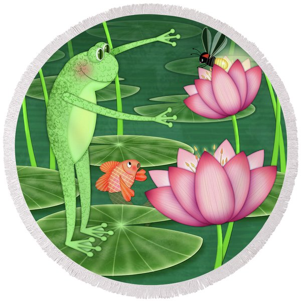 F Is For Frog Round Beach Towel