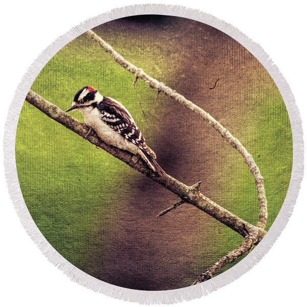 Faded Canvas Woodpecker Round Beach Towel