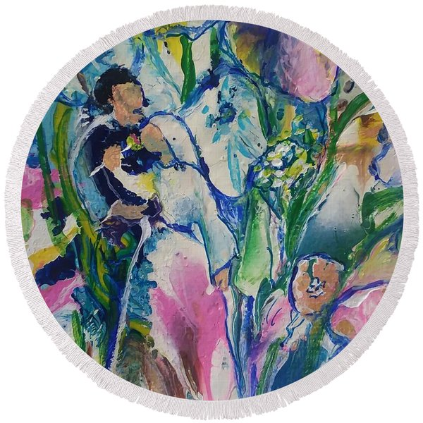 Fairest Among The Lilies Round Beach Towel