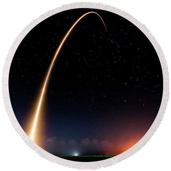 Falcon 9 Rocket Launch Outer Space Image Round Beach Towel