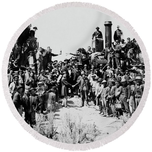 First Opening Of The Transcontinental Railroad - 1869 Round Beach Towel