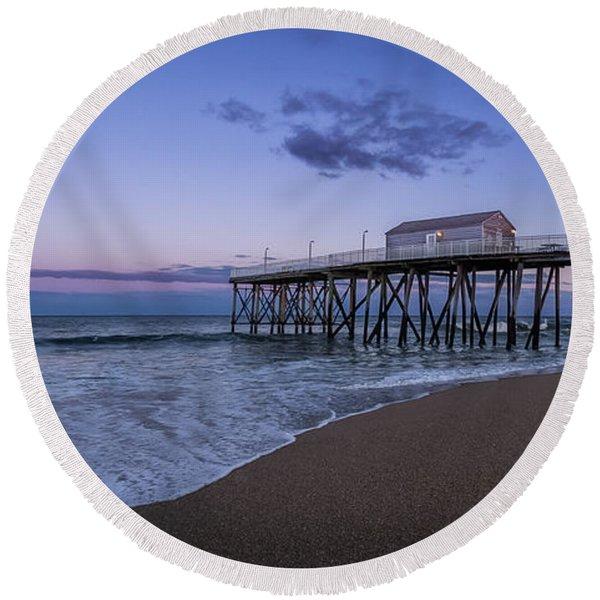 Fishing Pier Sunset Round Beach Towel