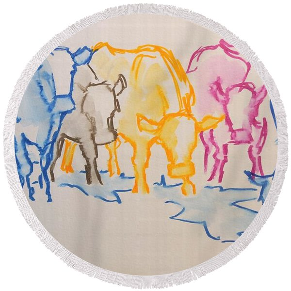 Five Cows Five Colors Watercolor Line Drawing Round Beach Towel