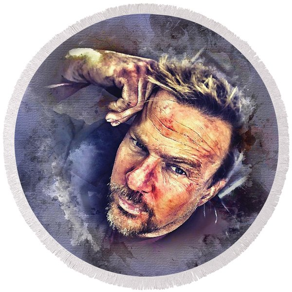 Flanery Watercolor Round Beach Towel